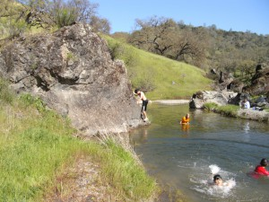 Swimming in Los Cruzeros camp, Henry Coe State Park